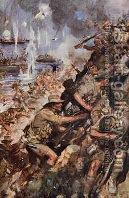 Midst Shot and Shell we made the narrow Beach landing at Gallipoli by Cyrus Cuneo - Reproduction Oil Painting