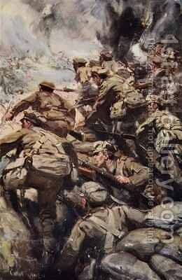 Repulsing a frontal attack with rifle and bayonet by Cyrus Cuneo - Reproduction Oil Painting