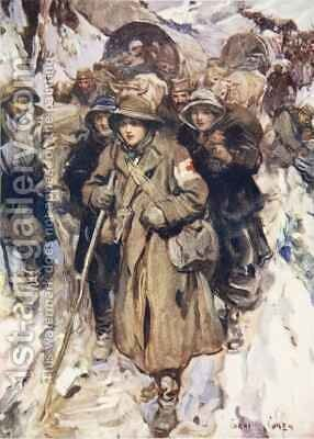 Brave nurses in the retreat of the Serbian army by Cyrus Cuneo - Reproduction Oil Painting