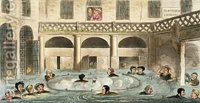 Public Bathing at Bath or Stewing Alive by Isaac Robert Cruikshank - Reproduction Oil Painting