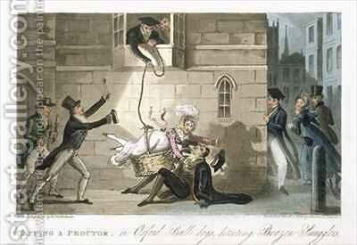 Capping a Proctor or Oxford Bull dogs detecting Brazen Smugglers by Isaac Robert Cruikshank - Reproduction Oil Painting