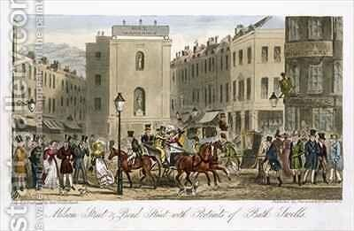 Milsom Street and Bond Street with Portraits of Bath Swells by Isaac Robert Cruikshank - Reproduction Oil Painting