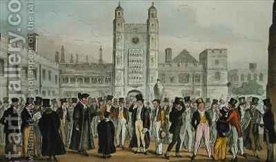 First Absence or Etonians Answering Morning Master Roll by Isaac Robert Cruikshank - Reproduction Oil Painting