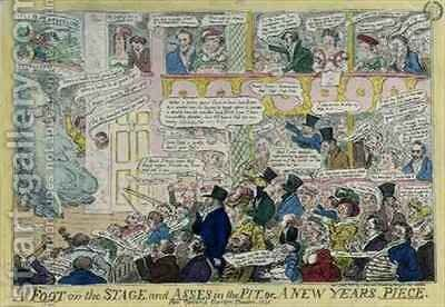 A Foot on the Stage and Asses in the Pit or A New Years Piece for Covent Garden Theatre by Isaac Robert Cruikshank - Reproduction Oil Painting