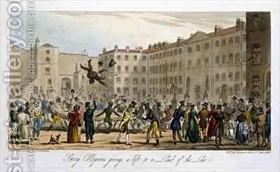 Surry Collegians giving a lift to a Limb of the Law by Isaac Robert Cruikshank - Reproduction Oil Painting
