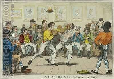 Sparring by Isaac Robert Cruikshank - Reproduction Oil Painting