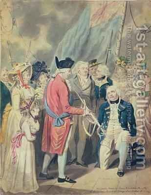 George III Presenting a Sword to Lord Howe by Isaac Cruikshank - Reproduction Oil Painting