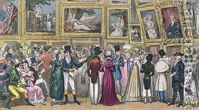 A Shilling Well Laid Out Tom and Jerry at the Exhibition of Pictures at the Royal Academy by I. Robert and George Cruikshank - Reproduction Oil Painting