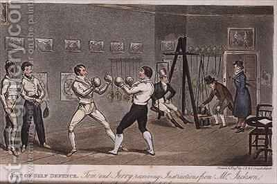Art of Self Defence Tom and Jerry receiving instructions from Mr Jackson by I. Robert and George Cruikshank - Reproduction Oil Painting