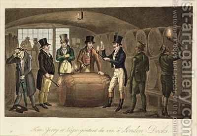 Tom Jerry and Logic tasting wine at London Docks by I. Robert and George Cruikshank - Reproduction Oil Painting