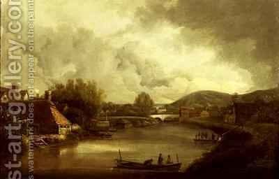 View of Pools Ferry and Bishops Bridge Norwich by J. and Ladbrooke, R. Crome - Reproduction Oil Painting