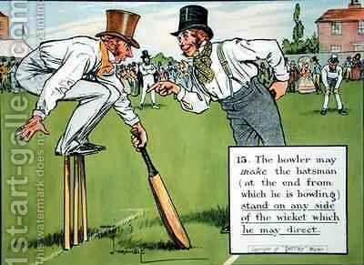 The bowler may make the batsman at the end from which he is bowling stand on any side of the wicket which he may direct by Charles Crombie - Reproduction Oil Painting