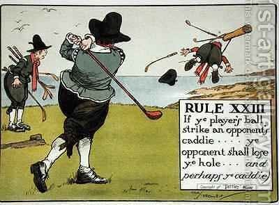 Rule XIII If ye players ball strike an opponents caddie ye opponent shall lose ye hole and perhaps ye caddie by Charles Crombie - Reproduction Oil Painting