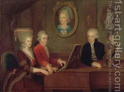 The Mozart family by Johann Nepomuk della Croce - Reproduction Oil Painting