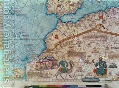 Detail from the Catalan Atlas by Abraham Cresques - Reproduction Oil Painting