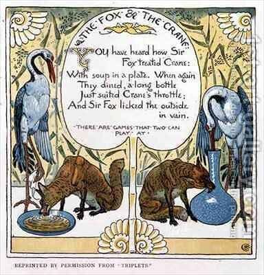 The Fox and The Crane by Walter Crane - Reproduction Oil Painting