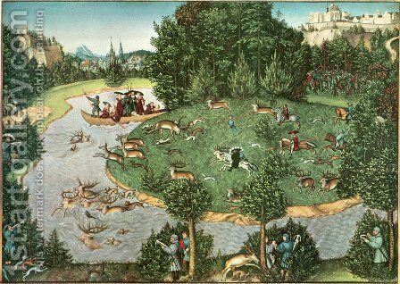 Stag Hunt of Elector Friedrich III the Wise by Lucas The Elder Cranach - Reproduction Oil Painting