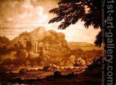 Landscape with a Temple by Alexander Cozens - Reproduction Oil Painting