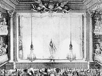 The Comedie Francaise during the Time of Moliere 1622-73 at the Palais Royal Auditorium by (after) Antoine Coypel - Reproduction Oil Painting