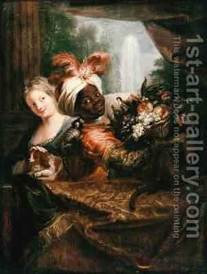 Young Black Man Holding a Basket of Fruit and a Young Girl Stroking a Dog by Antoine Coypel - Reproduction Oil Painting