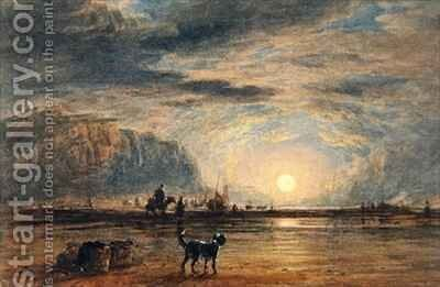 Beach Scene  Sunrise by (after) Cox, David - Reproduction Oil Painting