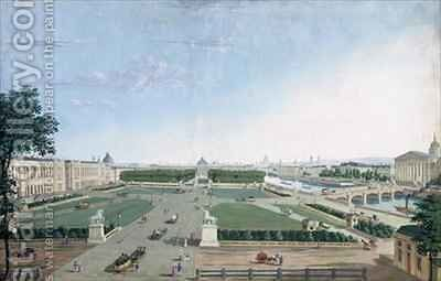View of the Place Louis XV and the Jardin des Tuileries by Henri Courvoisier-Voisin - Reproduction Oil Painting