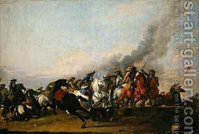 Combat of the Cavalry by Jacques (Le Bourguignon) Courtois - Reproduction Oil Painting