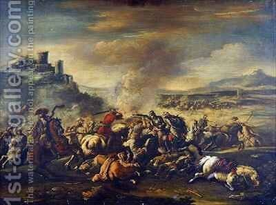 Combat of the Cavalry 2 by Jacques (Le Bourguignon) Courtois - Reproduction Oil Painting