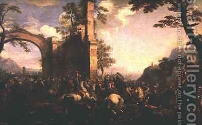 The Battle of Lepanto between the Christians and the Moslems by Jacques (Le Bourguignon) Courtois - Reproduction Oil Painting