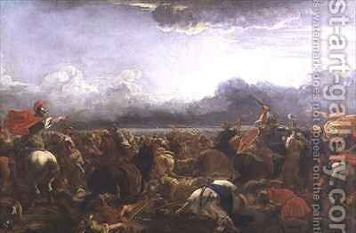 Battle between the Turks and Christians by Jacques (Le Bourguignon) Courtois - Reproduction Oil Painting