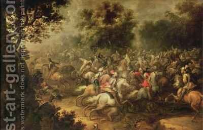 Battle of the cavalrymen by Jacques (Le Bourguignon) Courtois - Reproduction Oil Painting