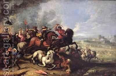 Battle Scene by Jacques (Le Bourguignon) Courtois - Reproduction Oil Painting