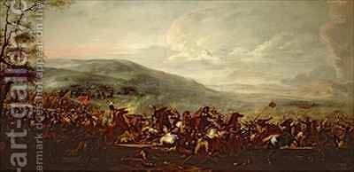 Battle between the Hungarians and Turkish by Jacques (Le Bourguignon) Courtois - Reproduction Oil Painting