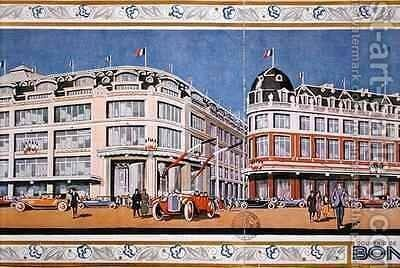Poster commemorating reminding the inauguration of the new Le Bon Marche stores by Jean Coulon - Reproduction Oil Painting