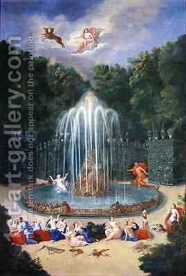 The Groves of Versailles View of the Star or Mountain of Water with Alph persuing Arethusa by Jean II Cotelle - Reproduction Oil Painting