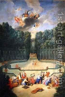 The Groves of Versailles View of the Amphitheatre and the Water theatre with Venus surrounded by the hours in the presence of Uranus by Jean II Cotelle - Reproduction Oil Painting