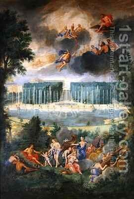 The Groves of Versailles View of the pool of Neptune and walkway with the Judgement of Paris by Jean II Cotelle - Reproduction Oil Painting