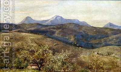 Spring landscape with a distant view of Monte Catria Early Morning by Giovanni Costa - Reproduction Oil Painting