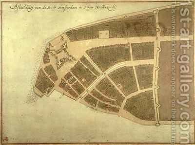 View of New Amsterdam Costello Plan by Jacques Cortelyou - Reproduction Oil Painting