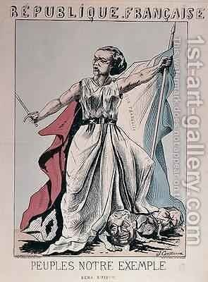 Personification of the French Republic as Louise Michel 1830-1905 trampling on the heads of Louis Adolphe Thiers 1797-1877 and Napoleon III 1808-73 by J. Corseaux - Reproduction Oil Painting
