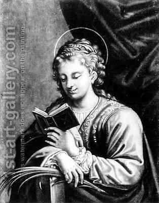 St Catherine by (after) Correggio, (Antonio Allegri) - Reproduction Oil Painting