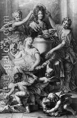 Frontispiece for the French Academy Dictionary by (after) Corneille, Jean-Baptiste - Reproduction Oil Painting
