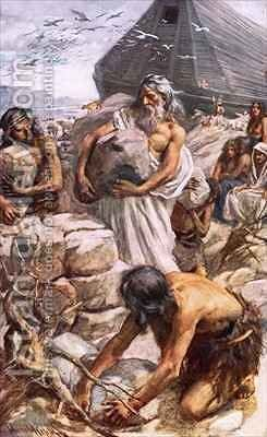 Noah building his altar by Harold Copping - Reproduction Oil Painting