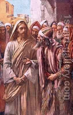 The question of the Sadducees by Harold Copping - Reproduction Oil Painting