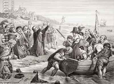 Departure of the Pilgrim fathers from Delft Haven in July 1620 by (after) Cope, Charles West - Reproduction Oil Painting