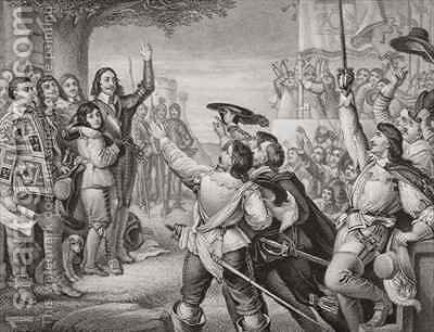 Charles I 1600-49 erecting his standard at Nottingham in the opening scene of the Great Civil War on 25th August 1642 by (after) Cope, Charles West - Reproduction Oil Painting