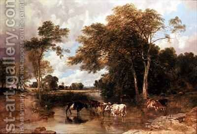 Wooded River Landscape by T.S. and Lee, F.R. Cooper - Reproduction Oil Painting