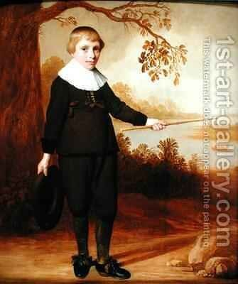 Portrait of a Seven year old Boy in a River Landscape by Jan Damen Cool - Reproduction Oil Painting
