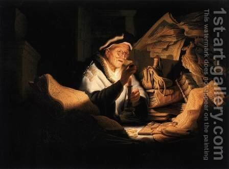 The Money Changer by Rembrandt - Reproduction Oil Painting