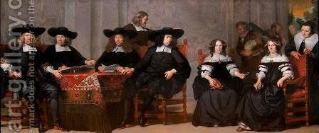 The Regent and Regentess of Oudemannen by Adriaen Backer - Reproduction Oil Painting
